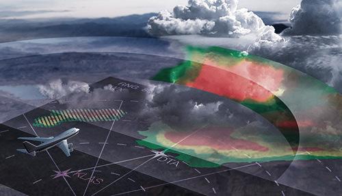 Radar meteorológico de bordo em uma aeronave ou avião